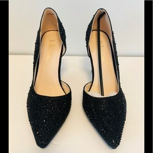 Black sparkling heeled shoes size 8